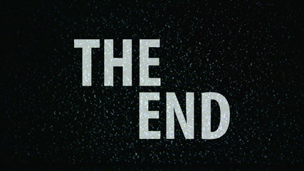 The End title on TV noise background. Ending sequence. 1920x1080