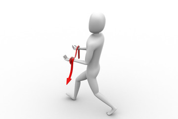 3d man carrying arrow on hand