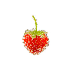 strawberry in bubbles isolated on white