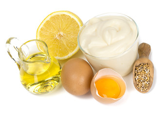 Mayonnaise ingredients isolated on white background