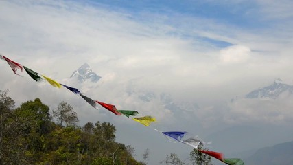 The Machapuchre and prayer flags in the foreground, Nepal