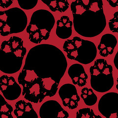 black and red human skull seamless pattern eps10