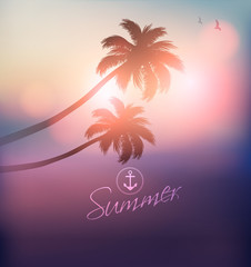 Palm Tree Sunset-Vector Illustration