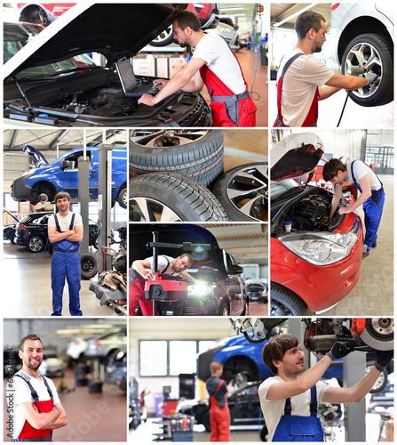 Deurstickers Collage moderne Autowerkstatt // Car repair workshop
