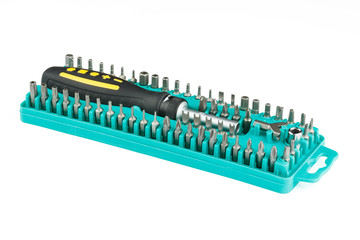 universal screwdriver with set of bits in a box
