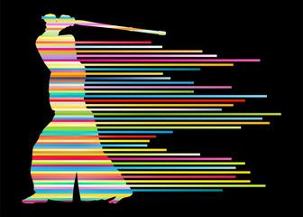 Active japanese Kendo sword martial arts fighter vector backgrou