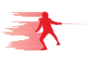 Sword fighters active young woman fencing sport silhouettes vect