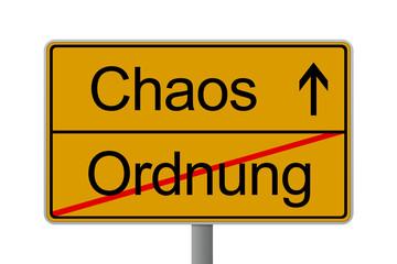 Verkehrsschild Chaos Ordnung