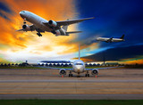 Fototapety passenger plane in international airport use for air transport a