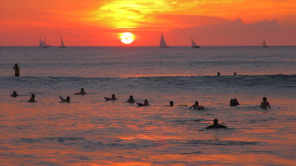 Ocean Waves Sunset Surfers