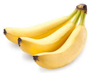 Banana fruits over white.