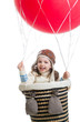 kid girl playing on hot air balloon