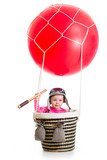 kid with pilot hat and teleskop on hot air balloon