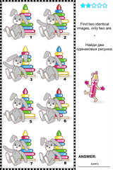 Visual puzzle - find two identical pictures of toys