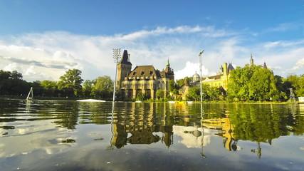 Vajdahunyad castle view from lakeside. Budapest, Hungary