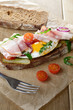 Bacon and fried egg open sandwich