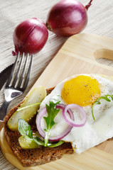 Fried egg open sandwich