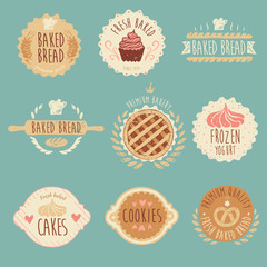 bakery labels set, baked bread, illustration, engraved style