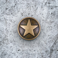 Bronze star on cement background
