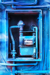 Blue Painted Gas Meter