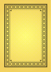 Gold ornament on yellow background. Can be used as invitation ca