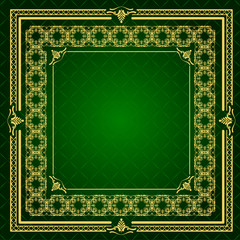 Gold ornament on green background. Can be used as invitation car