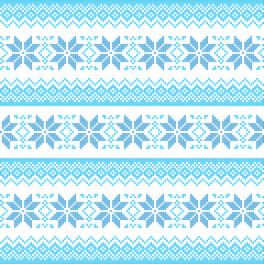 Winter, Christmas blue seamless pixelated pattern