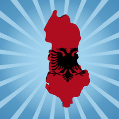 Albania map flag on blue sunburst illustration