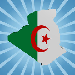 Algeria map flag on blue sunburst illustration