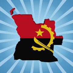 Angola map flag on blue sunburst illustration