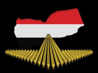 Arrow of people with Yemen map flag illustration