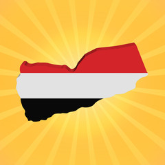 Yemen map flag on sunburst illustration