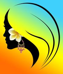 profil de jeune fille à la boucle d'oreille exotique