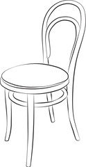 Sketched line drawing of a chair with a red fabric seat.