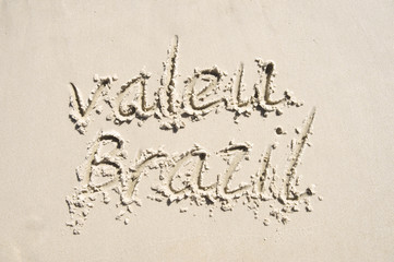 Valeu Thank You Brazil Message in Sand