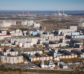 Surgut city, top view