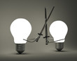 Glowing light bulbs fighting with greatswords on gray
