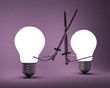 Glowing light bulbs fighting with greatswords on violet