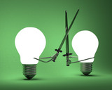 Glowing light bulbs fighting with greatswords on green