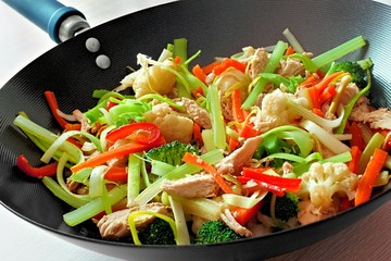 Stir fry with mixed vegetables and chicken in a wok