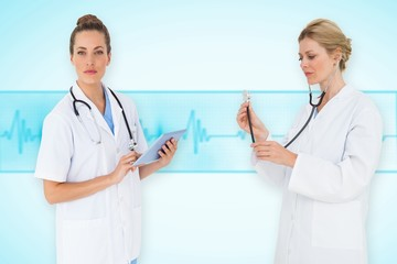Composite image of female medical team