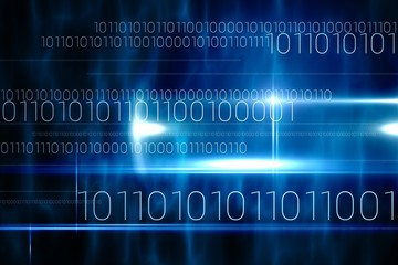 Blue technology design with binary code