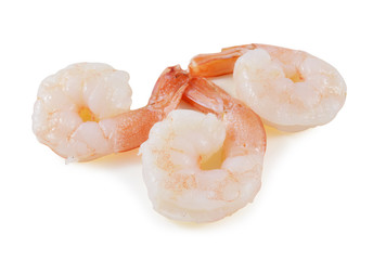 shrimps close up on white