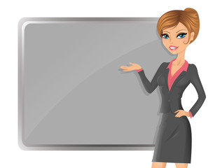Cute businesswoman pointing to the board.
