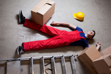 Storekeeper lying on the floor