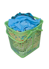 wore clothes in green basket on isolated background