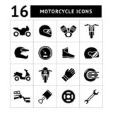Fototapety Set icons of motorcycle