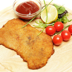 Schnitzel or escalope close-up