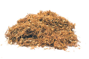 Pile of dried tobacco isolated on white