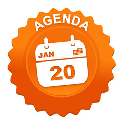 agenda sur bouton web denté orange